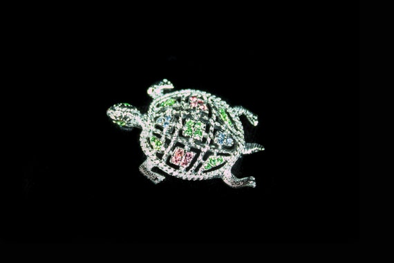 Rhinestone Turtle Brooch,  Multicolored,  Silvertone, Costume Jewelry, Fashion Pin