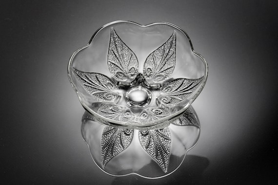 Anchor Hocking Footed Bowl, Renaissance Clear, Club Design, Beaded Leaves, Discontinued