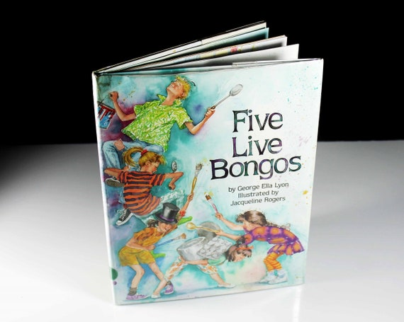 Children's Hardcover Book, Five Live Bongos, First Edition, Fiction, Illustrated, Kid's Story, Storybook, Picture Book