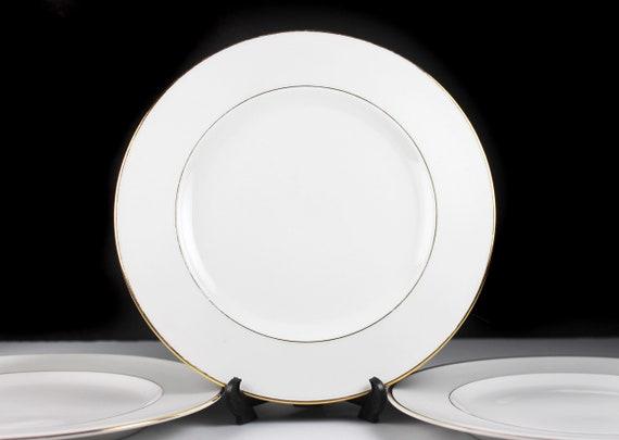 Johann Haviland Salad Plates, Bavaria, Golden Band, White and Gold, Set of 3, Fine China