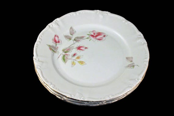Salad Plates, Winterling Bavaria, Germany, Floral Rose Pattern, Gold Trimmed, Set of 3