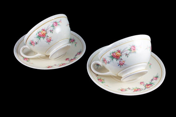 Cups and Saucers, Homer Laughlin, Countess, Georgian, Set of 2, Floral Pattern, Fine China