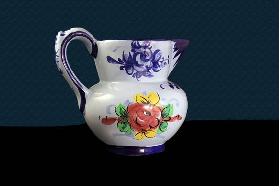 Vestal Alcobaga Portugal Pottery Pitcher, Signed, Hand Painted, Collectible, Water Pitcher, Floral