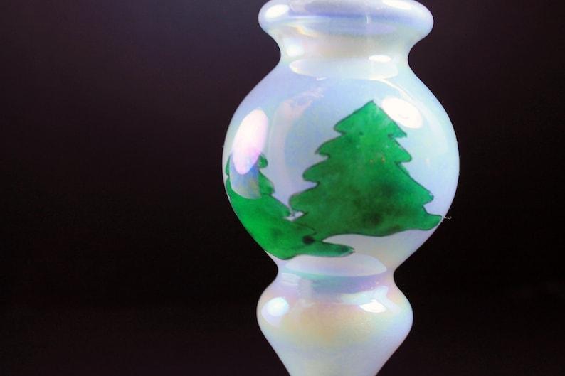 Christmas House Hand Painted Christmas Ornaments Fir Tree Design Iridescent Original Box Opalescent