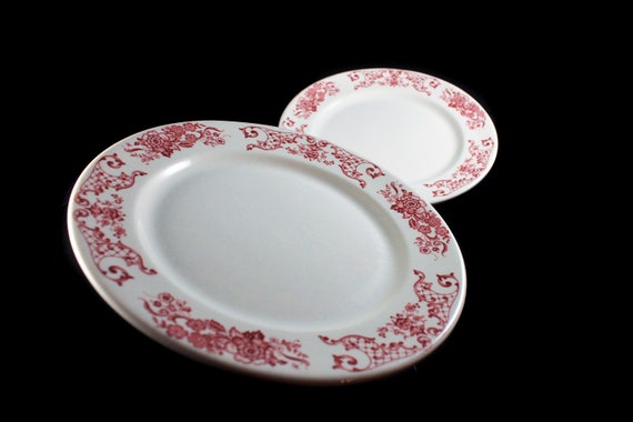 Dinner Plates, Syracuse China, Restaurant Grade, Red Floral, Set of 2, Dinnerware