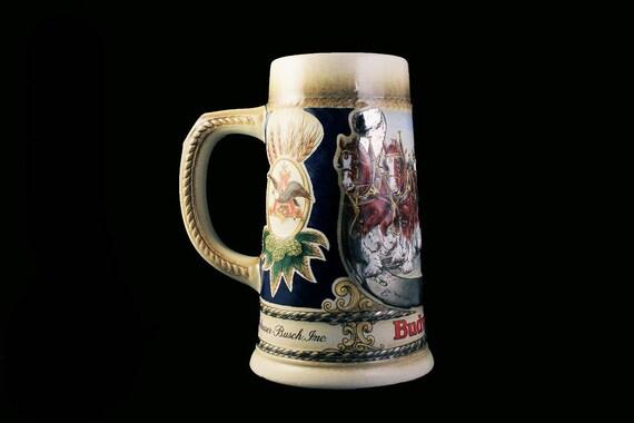 1986 Budweiser Stein, Horseshoe Collector Series, Staffel Stoneware, Beer Stein, W. Germany, Clydesdales Stein, Collectible, Anheuser-Busch