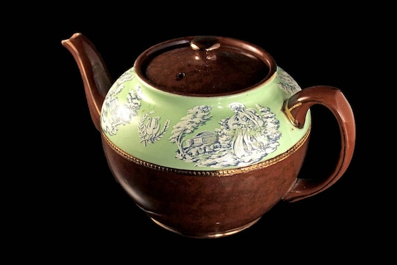 Teapot, Sadler, Staffordshire England, Brown and Green, White Greek Figures, 4 Cups