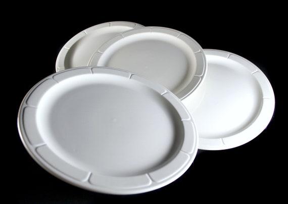 White Dinner Plates, Syracuse China, Gibraltar Pattern, Restaurant Grade, Set of 4, Embossed