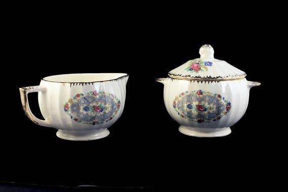 Sugar Bowl and Creamer, Paneled Sides,  Floral Pattern, Brushed Gold Trim, Porcelain