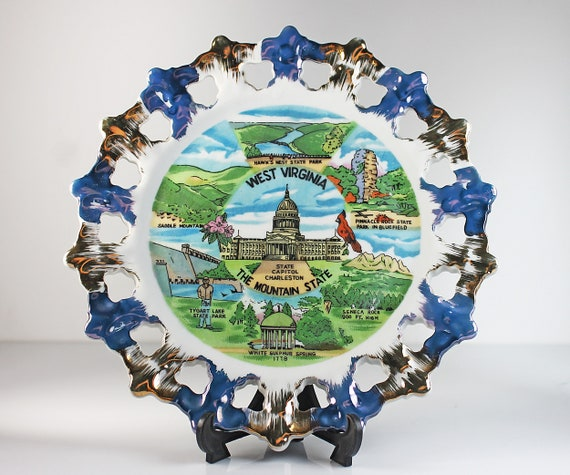 West Virginia Souvenir Plate, Decorative Plate, Reticulated, Blue and Gold Brushed Scalloped Edge, Made in Japan