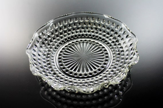 Anchor Hocking Bowl, Hobnail Clear, Crimped Round, Serving Bowl, Depression Glass