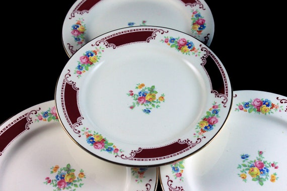 Dessert Plates, Homer Laughlin, Majestic, Brittany Shape, Set of 4, Multicolor Floral, Burgundy Band