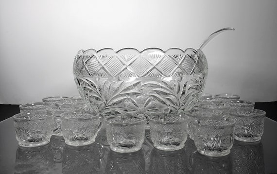 Punch Bowl with 18 Cup, Smith Glass, Holiday, 6 Quart, Plastic Ladle, Large, Floral Pressed Glass, Discontinued, Wedding, Party