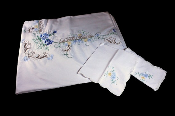 Hand Embroidered Tablecloth, 8 Matching Napkins, Blue Rose Pattern, 90 in x 66 in, Large Rectangle, Scalloped Edged, Vintage