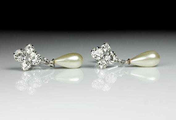 Drop Pearl Rhinestone Earrings, Screw Back, Faux Pearl, Silver Tone, Costume Jewelry, Collectible