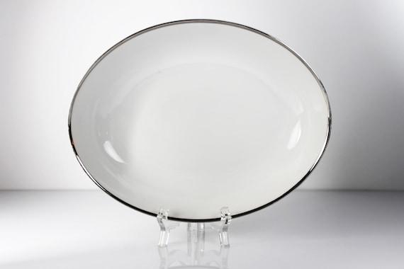 Oval Vegetable Bowl, Harmony House, Moderne, Platinum Trim, Fine China, White