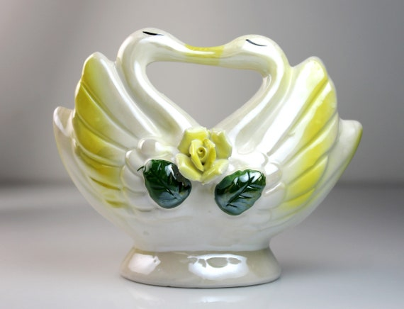Kissing Swan Planter, Yellow Lusterware, Raised Rose, Double Swans, Figurine, Porcelain, Collectible