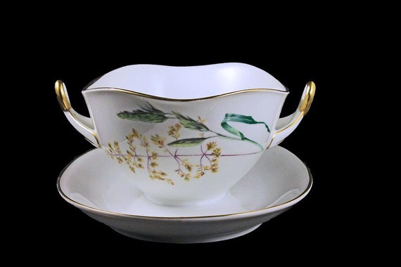 Gravy Boat, H & C  SELB Heinrich, Bavaria Germany, Attached Underplate, Sommer Pattern, White China, Gold Trim
