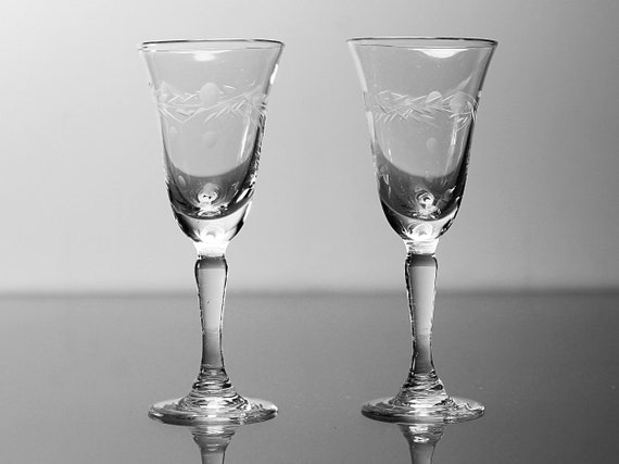 Etched Cordial Glasses, Liqueur,  Floral Pattern, Set of 2, Clear Glass, Barware, One Ounce