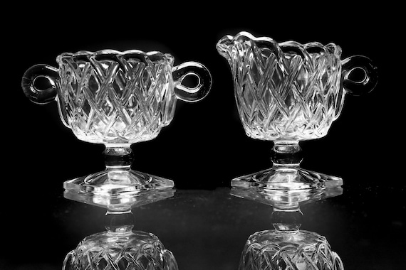 Square Footed Sugar and Creamer, Indiana Glass, Pretzel Pattern, Pressed Glass, Clear Glass