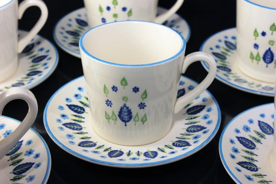 Marcrest, Cups and Saucers, Swiss Alpine, Blue and White, Leaves and Flowers, Made in USA, Porcelain, Set of 6