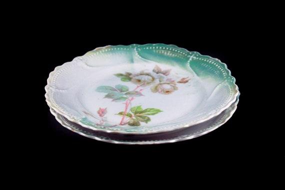 Antique Dessert Plates, Leuchtenburg China, Set of 2, White Rose, Circa 1910, Collectible, 7 Inch, Display Plates