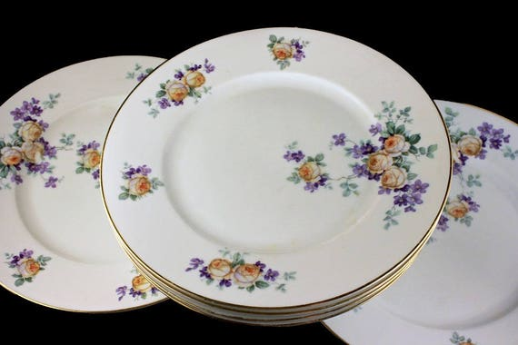 Antique Dinner Plates, Thomas Bavaria, Yellow Rose, Floral Pattern, Set of 6, Collectible, Gold Trim