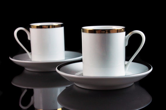 Demitasse Cups and Saucers, Schmidt Brazil, Set of 2, Porcelain, White and Gold, Espresso