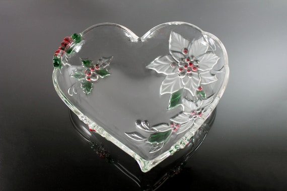Mikasa Heart Bowl, Holiday Bloom, Poinsettia Pattern,  Holiday Dish, Christmas Bowl, Pressed Glass, 10 Inch, Discontinued