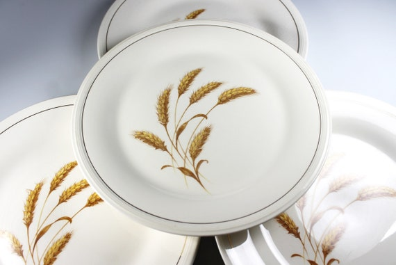 Edwin Knowles Dinner Plates, Golden Wheat, Set of 4