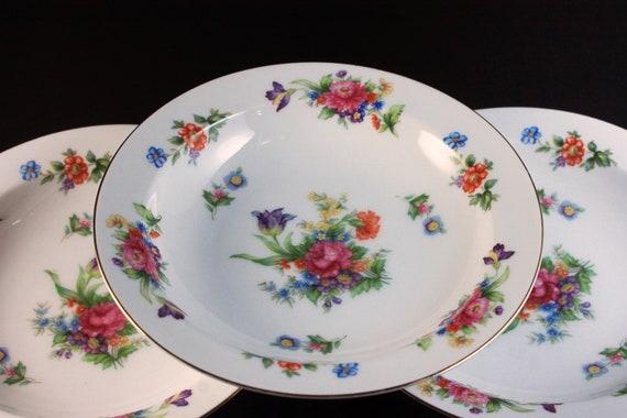 Rim Soup Bowls, Sango China, Occupied Japan, Floradel, Floral Pattern, Multi-floral, Gold Trim, Set of 3