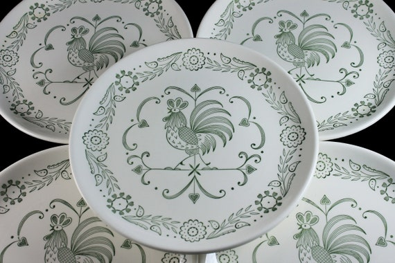 Dinner Plates, Scio Pottery, Provincial, Set of 6, Green Roster, Discontinued