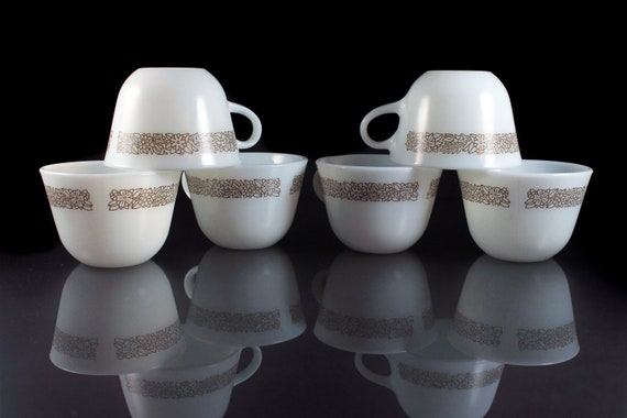 Corning Coffee Cups, Woodland, Teacups, Set of 6, Milk Glass, Brown Floral