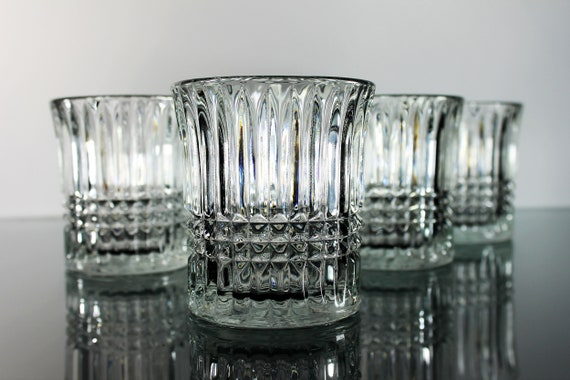 Fostoria Double Old Fashion Glasses, Aspen, Set of 4, Square Cut, Barware, Discontinued