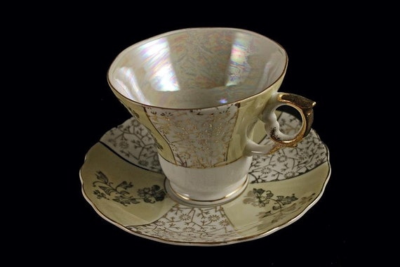 Teacup and Saucer Enesco Opalescent Iridescent Footed