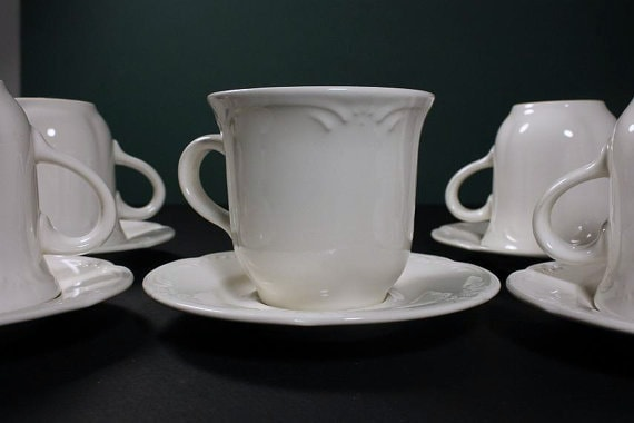 Cups and Saucers, Pfaltzgraff, Filigree Pattern, White, Set of 4, Coffee Cups, Tea Cups