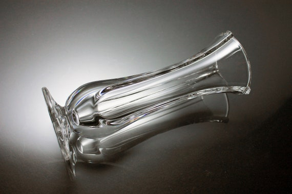 Bud Vase, Art Glass, Ribbed, Heavy Clear Glass, Accent Piece, Footed, Flower Vase