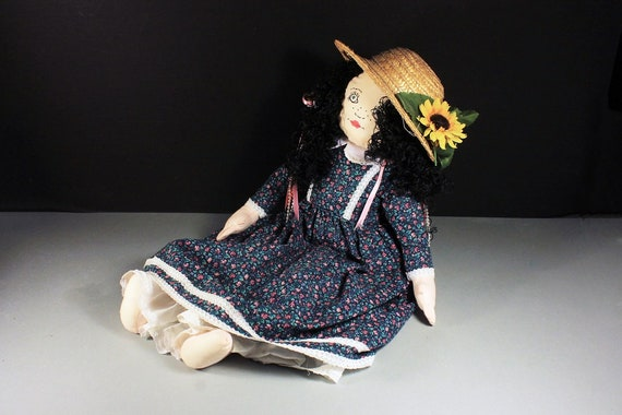 Prairie Doll, Handmade, Art Doll, Soft Cloth Body, Vintage, Calico Dress, Straw Hat, Country Doll, Collectible