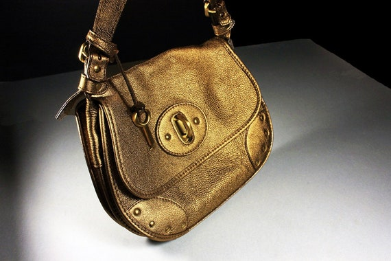 Leather Shoulder Bag, Laurent Effel, Designer Bag, Gold, Adjustable, Made in Italy, Boho Bag