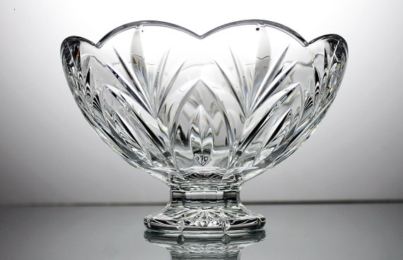 Waterford Crystal Footed Bowl, Canterbury,  Marquis Collection, 8 Inch, Cut Glass, Clear Glass, Centerpiece, Giftware