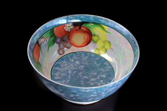 Footed Fruit Bowl, Lusterware, Opalescent, Iridescent, Fruit Pattern, 8 Inch, Porcelain, Centerpiece