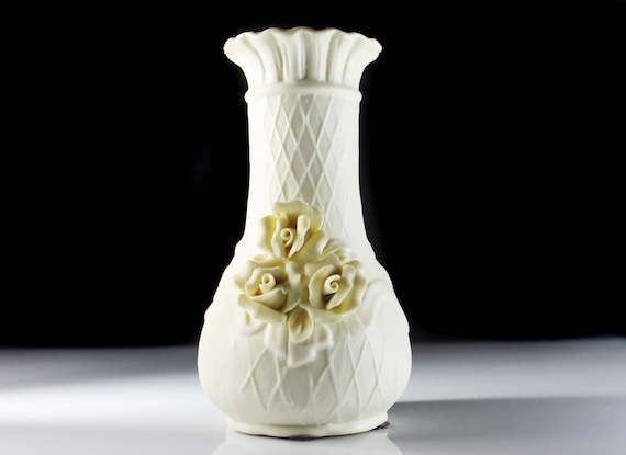 Raised Rose Floral Vase, Bisque Porcelain, Cream Color, 7 Inch
