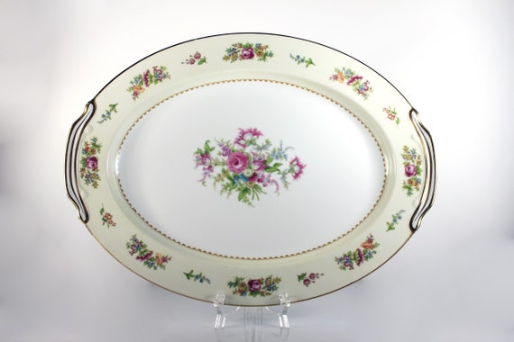 Noritake China Oval Platter, Empire, Occupied Japan, Floral Pattern, 16 Inch, Multi-floral, Gold Trim