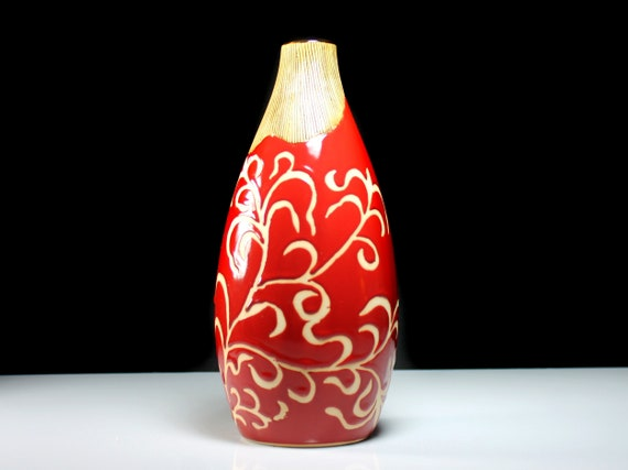 Floor Vase, Red, Medium, 10 Inch, Scrolls