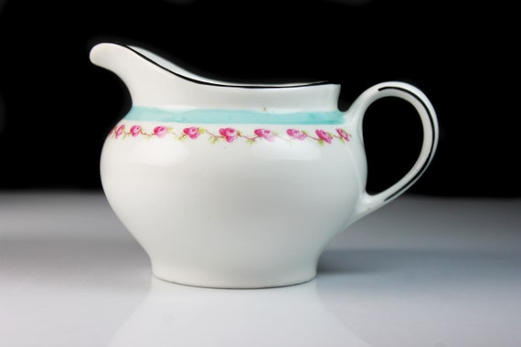 Footed Creamer,  Z S & Co. Bavaria, Pink Rose and Blue Band, Black Trim, Fine China