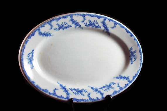 Antique Relish Platter, Syracuse China, O. P. Co, Blue Floral, Restaurant Grade