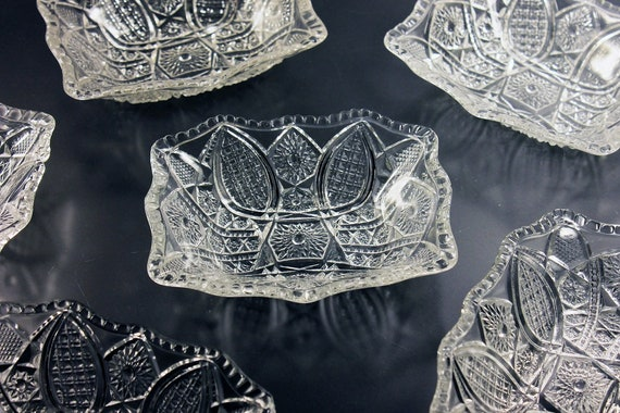 EAPG Antique Fruit Bowls, Indiana Glass, Paneled Daisy, Finecut Clear, Dessert Bowls, Rectangle, Star and Arch, Pressed Glass, Set of 6