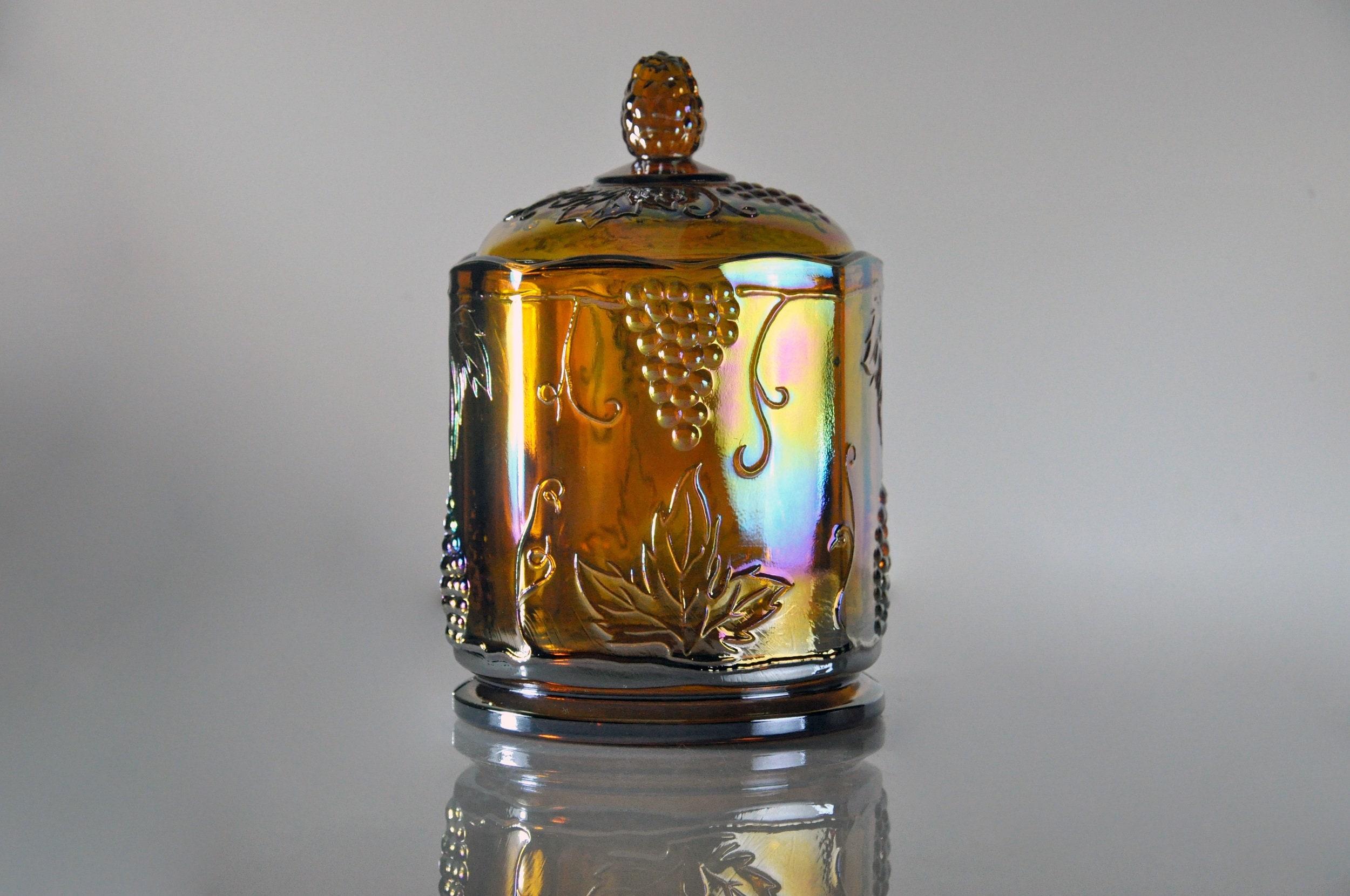 Carnival Glass Candy Jar, Indiana Glass, Harvest Pattern, Iridescent ...