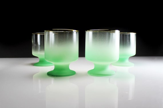 Blendo Footed Rock Glasses, West Virginia Glass Specialty, Set of 4, Green Frosted Glassware, Barware, Cocktail, 8 Ounce
