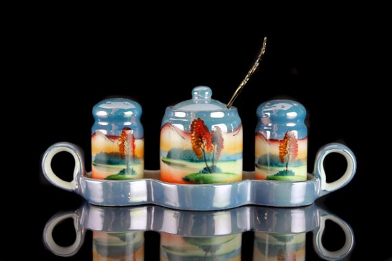 Salt and Pepper Condiment Set, Chikaramachi Japan, Noritake, Lusterware, Hand Painted, Collectibles, Made in Japan